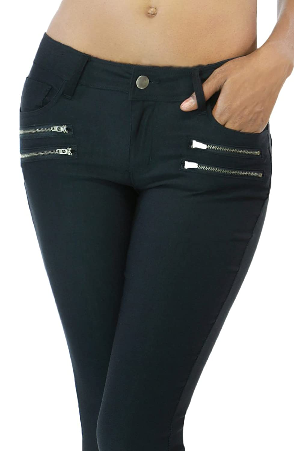 Womens Fashion Stretch Ankle Length Pants with Zipper Accent
