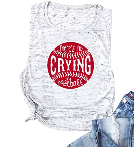 EGELEXY Funny Baseball Mom There's No Crying in Baseball Tank Tops Women's Casual Vest T-Shirt Tee Size M (Light Grey)
