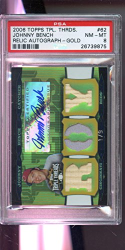 - 2006 Topps Triple Threads Johnny Bench Game-Used Jersey Bat 1/9 Autograph AUTO Graded Card PSA 8