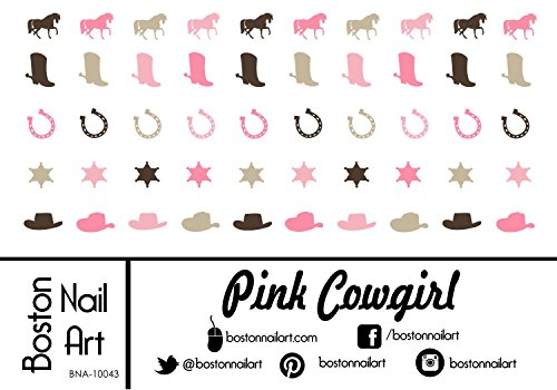 Pink Cowgirl Waterslide Nail Decals - 50PC