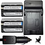 Two Halcyon 7200 mAH Lithium Ion Replacement Battery and Charger Kit for Sony HVR-HD1000U Digital High Definition HDV Digital Camcorder and Sony NP-F970