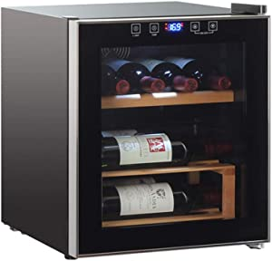 Lnspirational Gifts Decor Accessories 8 Bottle Wine Cooler - Big 42L Red and White Wine Chiller - Countertop Wine Cellar - Freestanding Refrigerator with LED Display Digital Touch Controls black