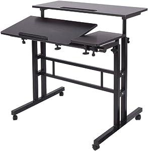Soges Adjustable Stand Up Desk Computer Desk Workstation Sit-Stand Desktop Standing Desk, Black ZS-101-2BK
