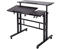 Soges Adjustable Stand up Desk 31.5inches Computer Mobile Desk Workstation with Standing and Seating,101-2BK-CA