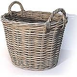 Fireside Log Basket Grey Medium Round Wicker Rattan Wood Storage