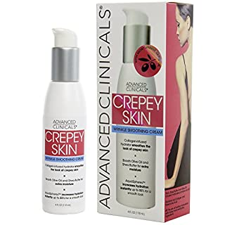Advanced Clinicals Crepey Skin Wrinkle Smoothing Cream for body, neck, decollete. Anti-Aging Cream With Collagen, Shea Butter, and Hyaluronic Acid. Large 4oz bottle with pump. (4oz)