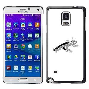 Shell-Star Arte & diseño plástico duro Fundas Cover Cubre Hard Case Cover para Samsung Galaxy Note 4 IV / SM-N910F / SM-N910K / SM-N910C / SM-N910W8 / SM-N910U / SM-N910G ( Dancers Couple Minimalist Black White )