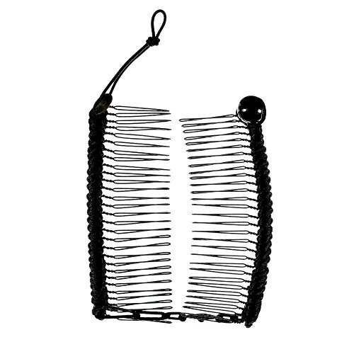 S-T-R-E-T-C-H Banana Comb, NEW, Hair Accessory Perfect for Easy Ponytail, UpDo or Faux Hawk, Black, Medium by HairZing
