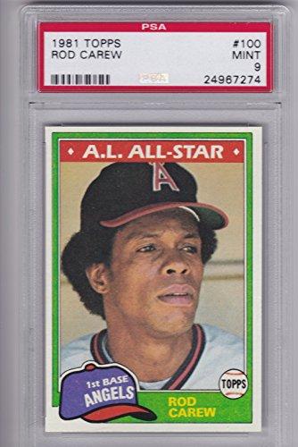 1981 Topps Baseball #100 Rod Carew ALL-STAR ~PSA GRADED~ 9 MINT
