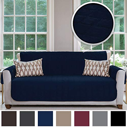 Gorilla Grip Original Velvet Slip Resistant Luxury Sofa Slipcover Protector, Seat Width Up to 70 Inch Patent Pending, 2 Inch Straps, Hook, Couch Furniture Cover for Pets, Dogs, Kids, Sofa, Navy Blue