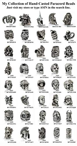 Custom Samurai Helmet Bead For Paracord Bracelet Keychain Or Knife