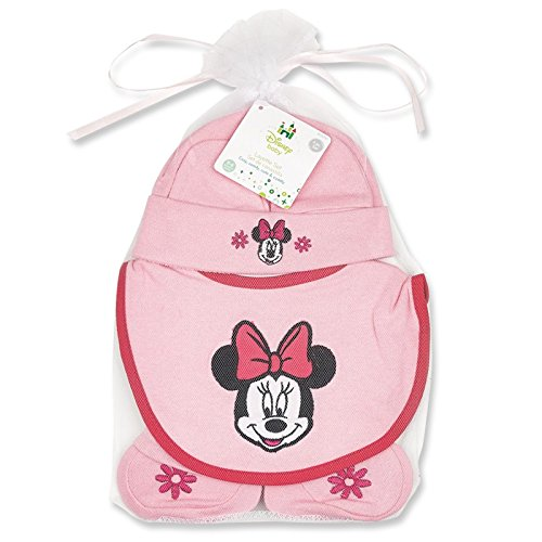Minnie Mouse Hat, Bib, and Booties Gift -
