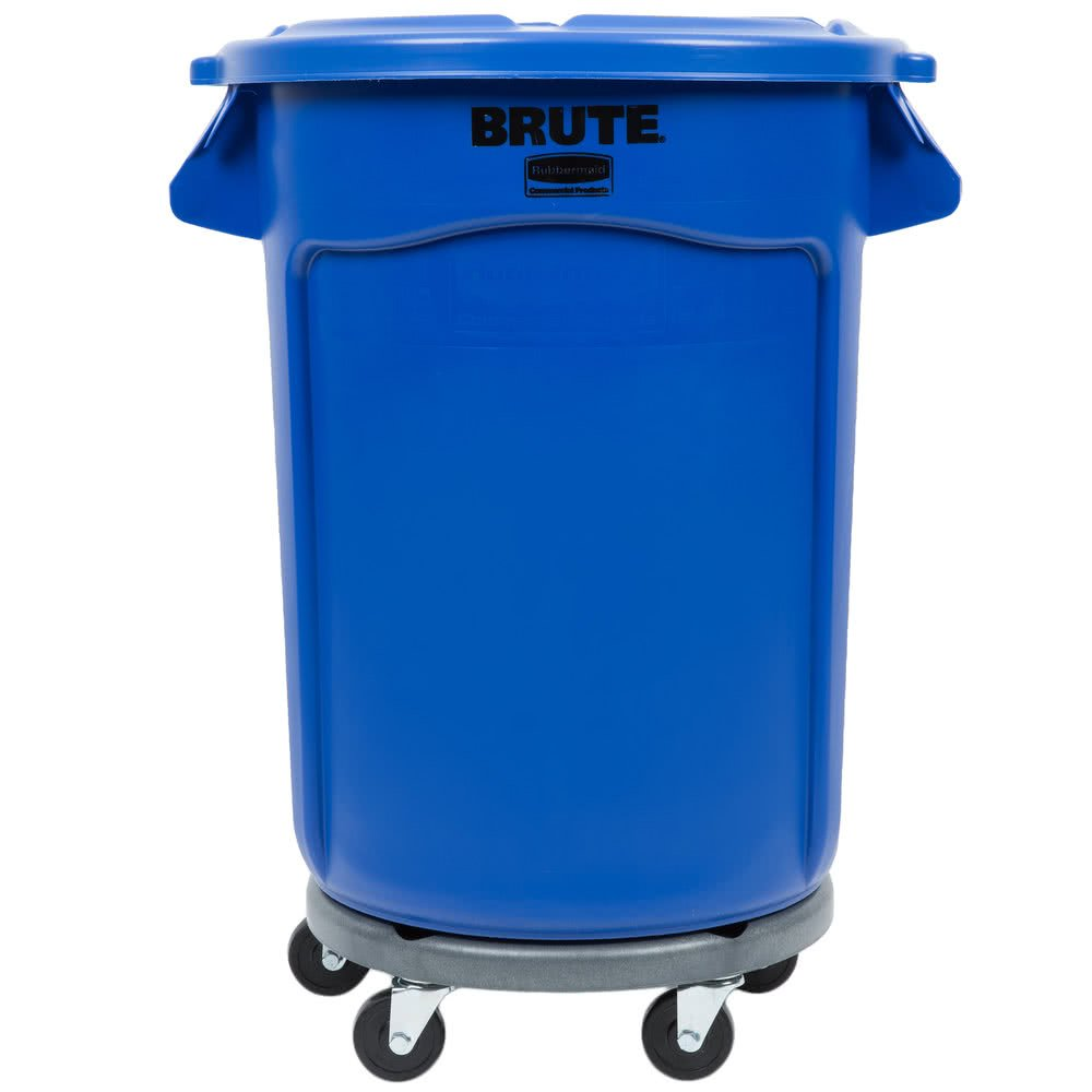 TableTop King BRUTE 32 Gallon Blue Trash Can with Lid and Dolly