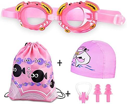 187fbf09ef Weibest Gorro de baño y gafas de natación para niños, gafas de natación  impermeables y antivaho para niños, niños y niñas Gorro de natación  impermeable de ...