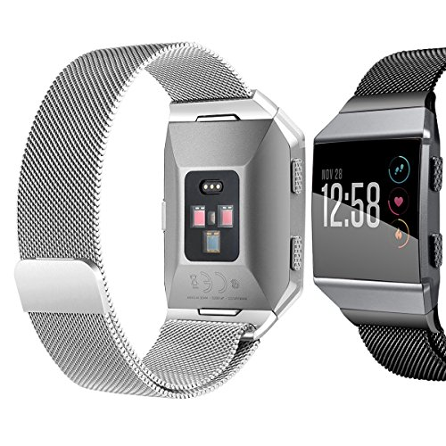 bayite For Fitbit Ionic Bands, Stainless Steel Milanese Loop Metal Replacement Strap with Unique Magnet Lock Accessories for Fitbit Ionic Small Silver + Black by bayite (Image #1)