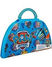 Paw Patrol Zestaw do majsterkowania dla dzieci, flamastry i kredki, akcesoria do szkoły, zestaw 50 sztuk, przenośna walizka do majsterkowania, idealna w podróży, zestaw dla chłopców i dziewcząt, prezent dla dzieci