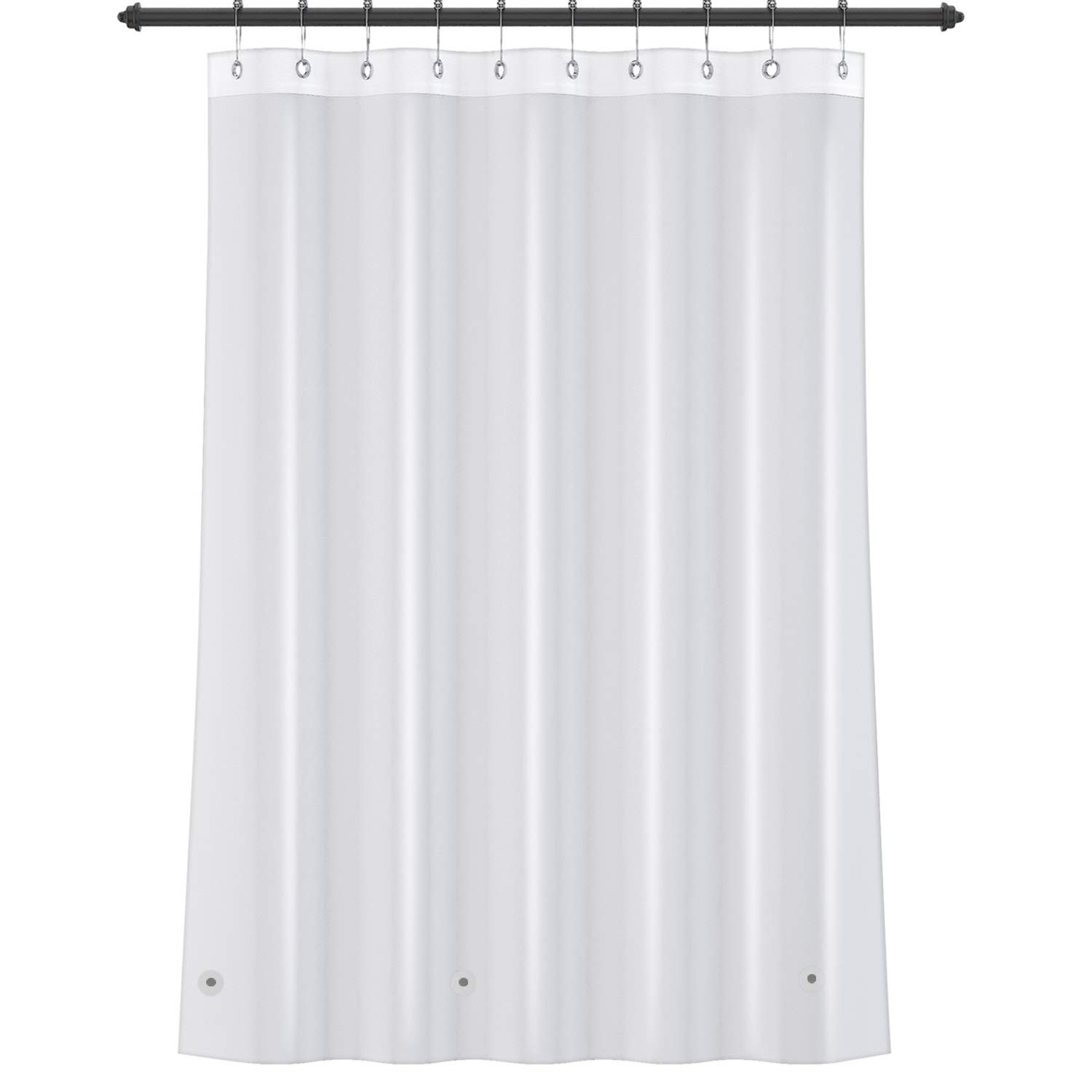YINENN Shower Curtain Liner Heavy Duty PEVA 8G Mildew and Stain Resistant,Anti Bacterial,Waterproof,Nontoxic, No Chemical Smell-Rust Proof Metal Grommets-72x72 inch with 12 Metal Hooks (Clear)