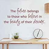 MairGwall Inspirational Quotes Vinyl Wall Decal Dreams Wall Sticker The Future Belongs To Those Who Believe In The Beauty Of Their Dreams£¨Small,Black£