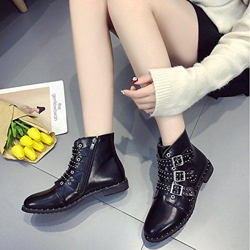 ZHZNVX HSXZ Zapatos de Mujer Moda Otoño Invierno PU Confort Botas Botas Chunky Talón Puntera Redonda Mid-Calf Botas para Casual Beige Negro,Negro,US8.5/UE39/UK6.5/CN40 39 EU