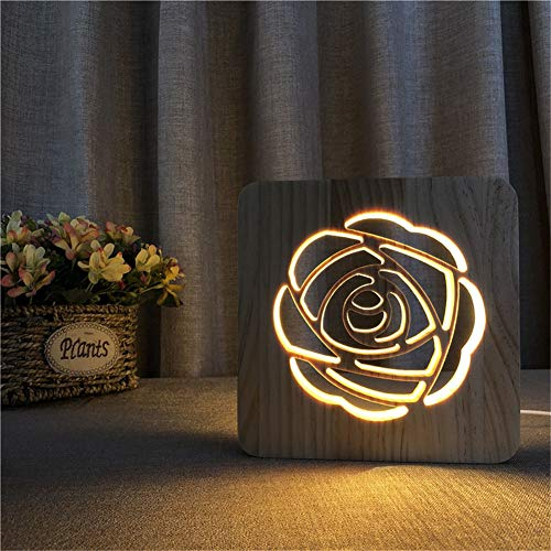 (3D Night Lights, LED Small Night Lamp Valentine's Day Rose Creative Sculpture Wooden USB Table Lamp Home Decoration Atmosphere Lamp, for)
