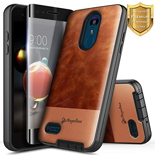 LG Aristo 2 Plus/Aristo 3/Aristo 2/Tribute Dynasty/Empire/Zone 4/Rebel 3-4/Phoenix 4/Fortune 2/Risio 3/K8 2018/K8 Plus/K8S w/[Tempered Glass Screen Protector], NageBee Premium Leather Case -Brown