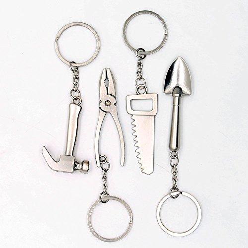 4pcs Mini Wrench Tool Keychain Metal Spanner Keyring Pendant Key Holder Organizer Keyfob Gift for Men Women ()