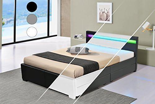 Druline Led Bett Vienna Doppelbett Polsterbett Lattenrost Kunstleder Gestell Bettkasten 160x200 Weiß