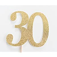 Gold Glitter 30 Cake Topper, 30th Anniversary, thirtieth Birthday, thirty