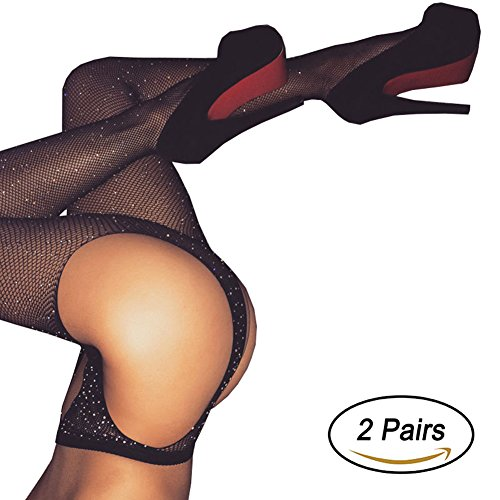 Black Fishnet Tights for Women Seamless Sparkle Rhinestone Mesh Pantyhose 2 Pairs (Regular, Crotchless)