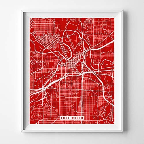 Amazon.com: Fort Worth Texas Map Print Street Poster City Road Wall ...