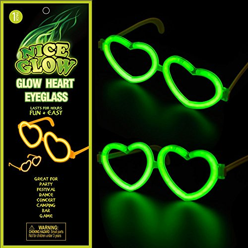 Glow Heart Glasses Light Up Toy Party Favors Eyeglasses with Glowing Sticks Multiple Colors (Taylor Swift Red Concert Costumes)