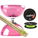 Pink Cyclone Quartz 2 Diabolo Set w/ Wooden Diablo Sticks & Accelerate Diabolo String