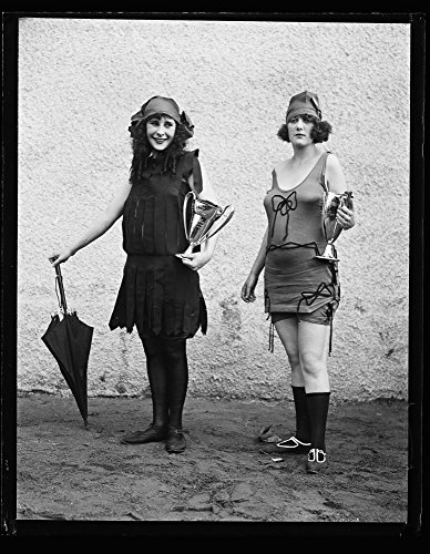1922 Photo Women in bathing suit with prize cups