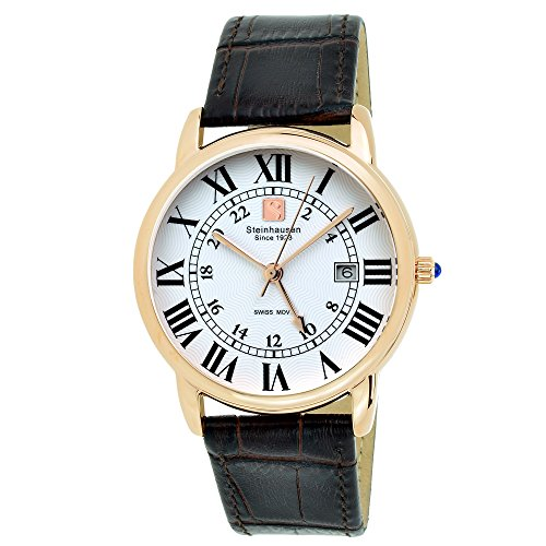 Steinhausen Men's Stainless Steel Watch with Black Leather Band - Classic Delémont Swiss Quartz (Brown/Rose - Graduate Steel Watch Stainless