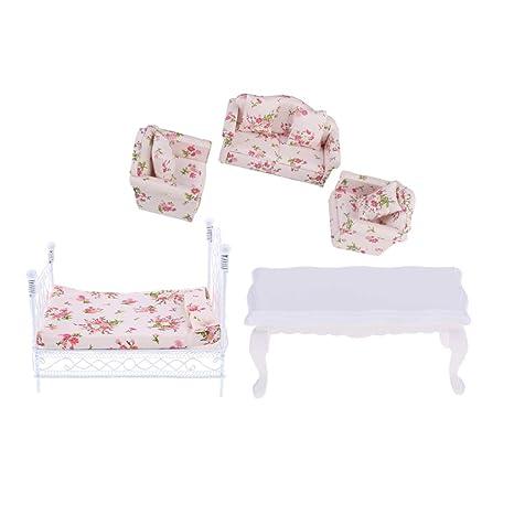 Amazon.com: Prettyia 1/12 Dollhouse Furniture Decor Floral ...