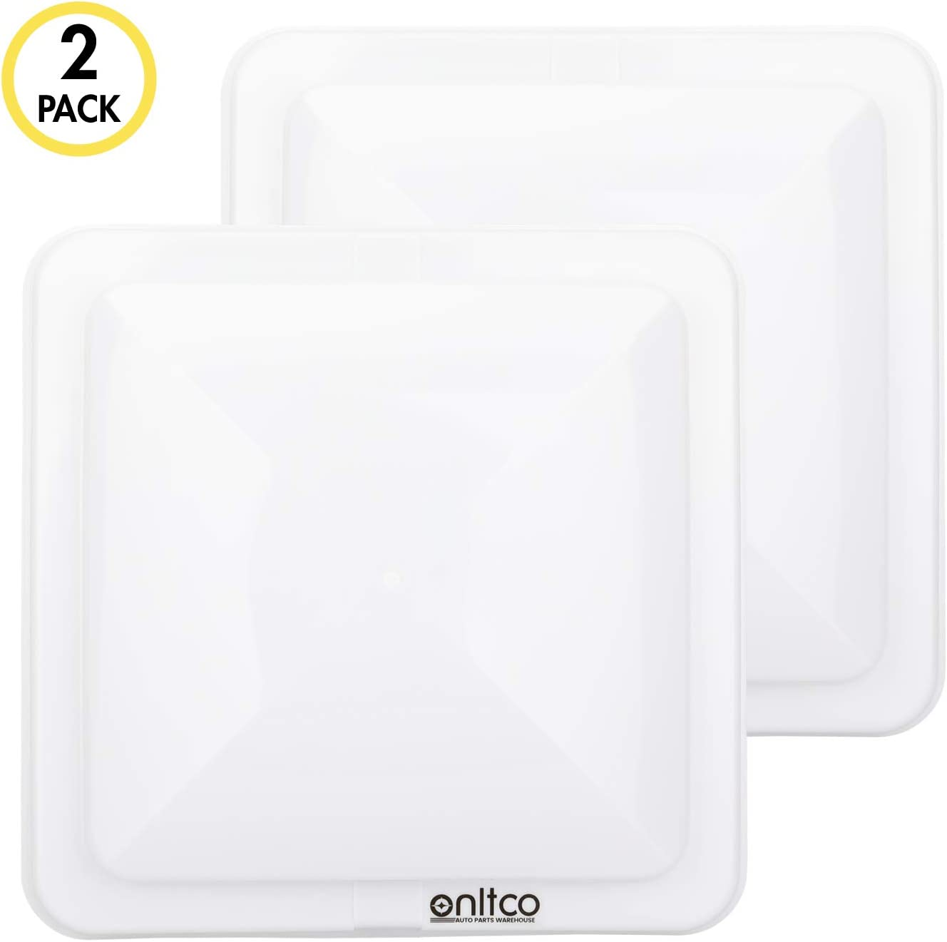 ONLTCO Rv Roof Vent Cover Replacement 14 x 14, White Vent Lid for Camper Trailer Motorhome Bathroom, 2 Pack