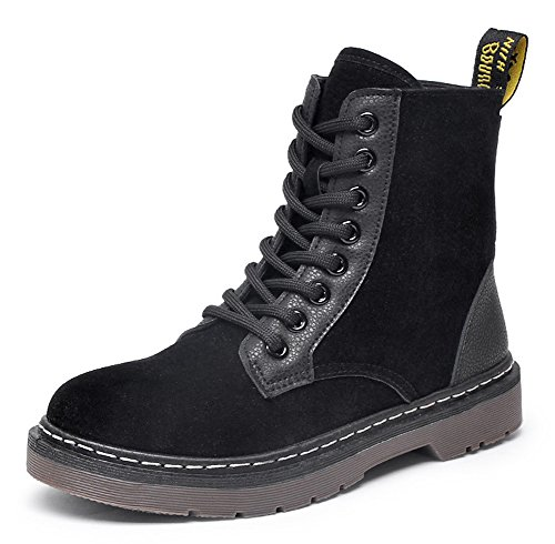 Aisun Womens Comfort Round Toe High Top Lace Up Flat Ankle Booties Black jIadFNL5gz