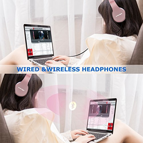 Bluetooth Headphones Over Ear, Esonstyle Hi-Fi Stereo Wireless Foldable Headset w/ Built-in Mic and Wired Mode for iphone 8 iphone X and others