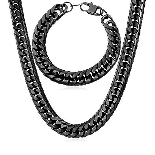 U7 Steel Based Black Gun Plated 12MM Chunky Big Chain For Men Franco Curb Necklace Link Bracelet Set - 22