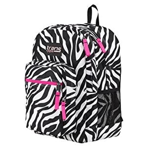 Trans by Jansport Laptop Sleeve Backpack Zebra Print, Hot Pink Trim