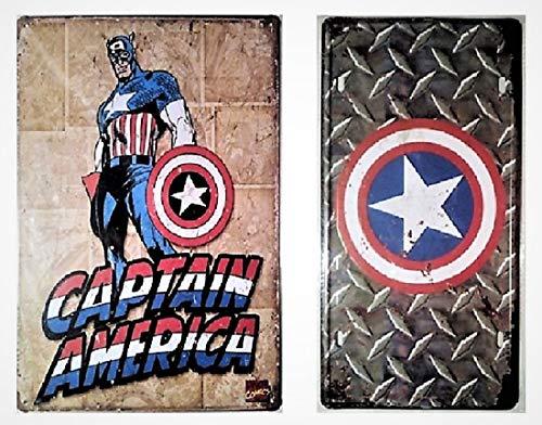 - Pish Posh Llc Vintage Tin Sign Decor, Set of 2 Captain America Novelty Metal Signs (1) 6
