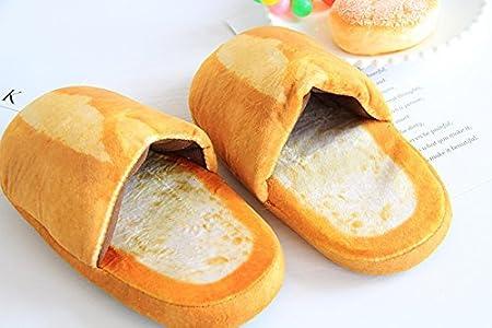 39~42 Spaufu Pantoufles dhiver Chaudes en Peluche pour Les Femmes Hommes pour la Maison Pantoufles en Coton Confortables Antid/érapantes en Forme de Pain L
