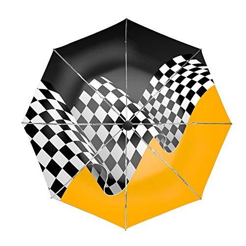 Travel Umbrella, 8 Ribs Finest Windproof Racing Flag Umbrella with Teflon Coating, Auto Open Close and Upgraded Comfort Handle