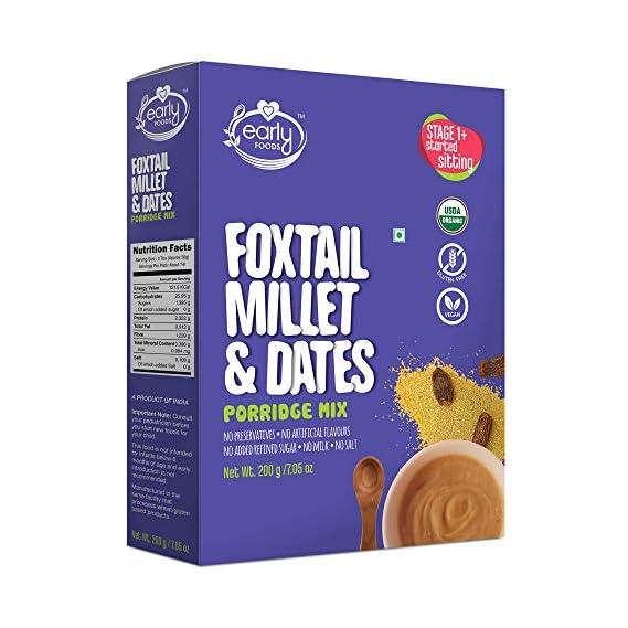 Early Foods Organic Foxtail Millet & Dates Porridge Mix, 200g