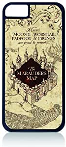 Harry Potter - Marauder's Map Black Tough Plastic Outer Case with Black Rubber Lining for Apple Iphone 5 (Double Layer Case with Silicone Protection), Iphone 5s Universal: Verizon - Sprint - At&t - Great Affordable Gift! WANGJING JINDA