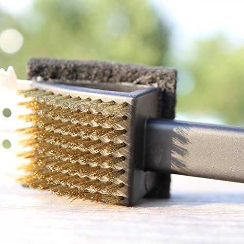 [BBQ Grill Brush with Long Handle and ONE Silicone Basting Brushes Set, Convenient Scrub Pad, Tough Scraper and Thicker Bristles, By G-BOX] (Long Handle Plastic Grill Brush)