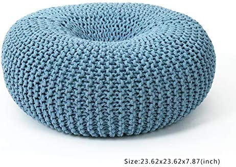 Adeco 24 Inch Knitted Style Cotton Pouf, Floor Ottoman Knit Foot Stool Rest, Light Blue Color