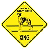 KC Creations Italian Greyhound Xing Caution Crossing Sign Dog Gift