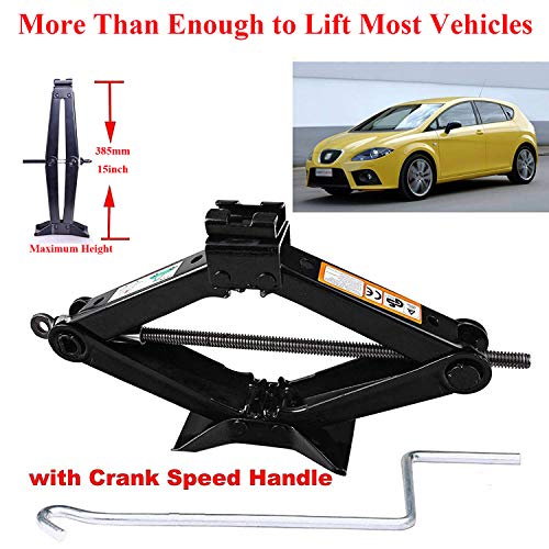 - ZhanGe 2 Tonne Rustproof Car Scissor Floor Lift Car Jacks Speed Chromed Crank Handle for Vauxhall/Corsa/Astra/Zafira/Insignia/Meriva(4.2-15 Inch) Audi A3 A4 A5 Q3 Cars, Solid Steel Rust-Proof