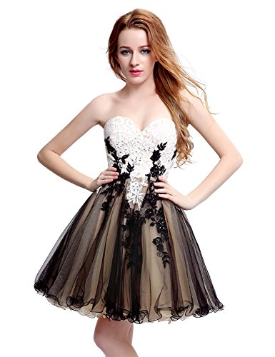 Belle House Lace Tulle Strapless Homecoming Dresses Short Black Prom